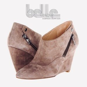 Belle by SM Frankie Camel Suede Wedge Ankle Boots